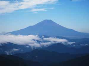 塔の岳山頂 富士山